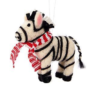 Sass & Belle Christmas Zebra Felt Hanging Decoration