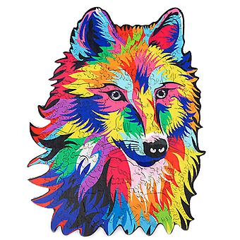 Children's Puzzles Animal Shapes Wood 3d Jigsaw Puzzle Wolf-shaped Children Puzzles Gifts