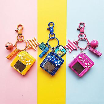Tetris Video Game Keychain Classic Game Machine Retro Nostalgic Game Console Keychain(01 Blue)