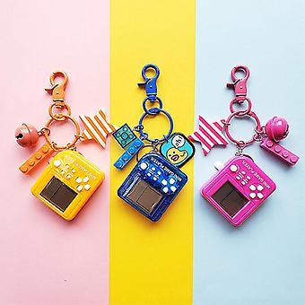 Tetris Videospiel Schlüsselanhänger Klassische Spielmaschine Retro Nostalgische Spielkonsole Schlüsselanhänger(02 Orange)
