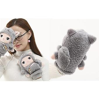 Cartoon Cute Lanyard Student Winter Outdoor Mittens Thickened Cotton Cold Gloves Women(Grey)