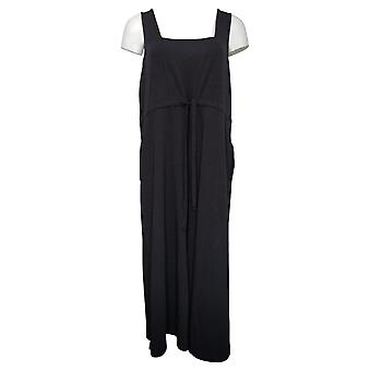 AnyBody Cozy Knit Petite Jumpsuits Cropped Wide Leg Knit Black A378003