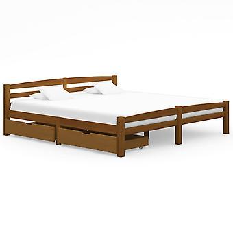 vidaXL إطار السرير 2 الأدراج العسل البني الصنوبر الخشب الصلب 180x200cm