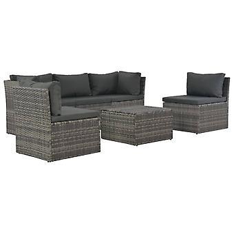 vidaXL 4 pcs. Garden Lounge Set with Upholstery Poly Rattan Grey