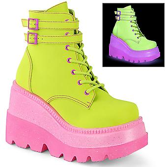 Demonia Women's Boots SHAKER-52 Lime Reflective Vegan Leather/Pink