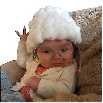 Kreatív kalapok csecsemőknek és kisgyermekeknek, Kis öreg hölgy alakú fejfedő, Aranyos újszülött fotó