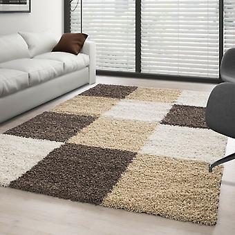 High Pile Shaggy Long Pile Carpet Living Room Carpet Soft Border Check Patterned