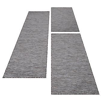 Bettumrandung Flachgewebe Sisal Optik Teppich 3 teilig Läuferset Grau Beige Weiß