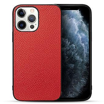 Para iPhone 13 Pro Max Case Cuero genuino Durable Slim Fit Cubierta protectora Rojo
