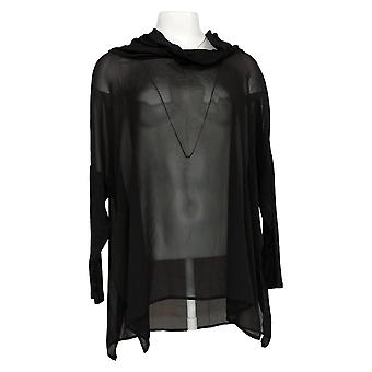 Wynne Layers Women's Top Cowl Neck Mixed Media Poncho Black 633852