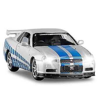 Toy cars 1/32 alloy r34 skyline gtr toy car model white