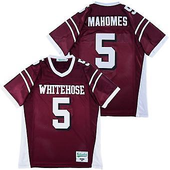 Men's Patrick Mahomes #5 White Football Jersey Outdoor Sportswear, Stitched Movie Football Jerseys Sports Short Sleeve T-shirt Size S-xxxl