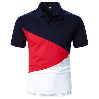 menn farge matchende kortermet polo skjorte slank passform topper bluse pullover t-skjorte