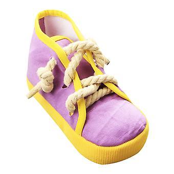כלב ללעוס נעליים צעצוע שיניים אינטראקטיביות ניקוי חריקה גור עקיצות עמידות נעליים קלועות עמיד חבל עמיד חבל צליל משחק צעצוע