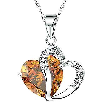 Boolavard Fashion Osterreic Czech Crystal Heart Shape Pendant Necklace + Gift Box