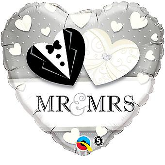 Qualatex 18 Inch Heart-Shaped Mr & Mrs Foil Wedding Foil Balloon