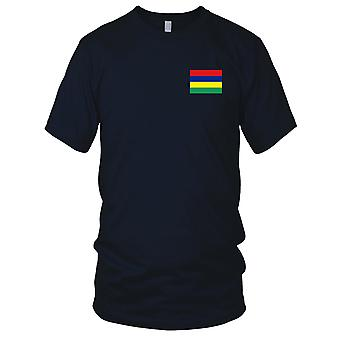 Drapeau National du pays de Maurice - brodé Logo - T-Shirt 100 % coton T-Shirt Mens