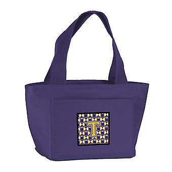 Carolines skarby CJ1064-TPR-8808 litery T piłki nożnej Purpura i złoto Lunch Bag