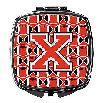 Letter X Football Scarlet and Grey Compact Mirror