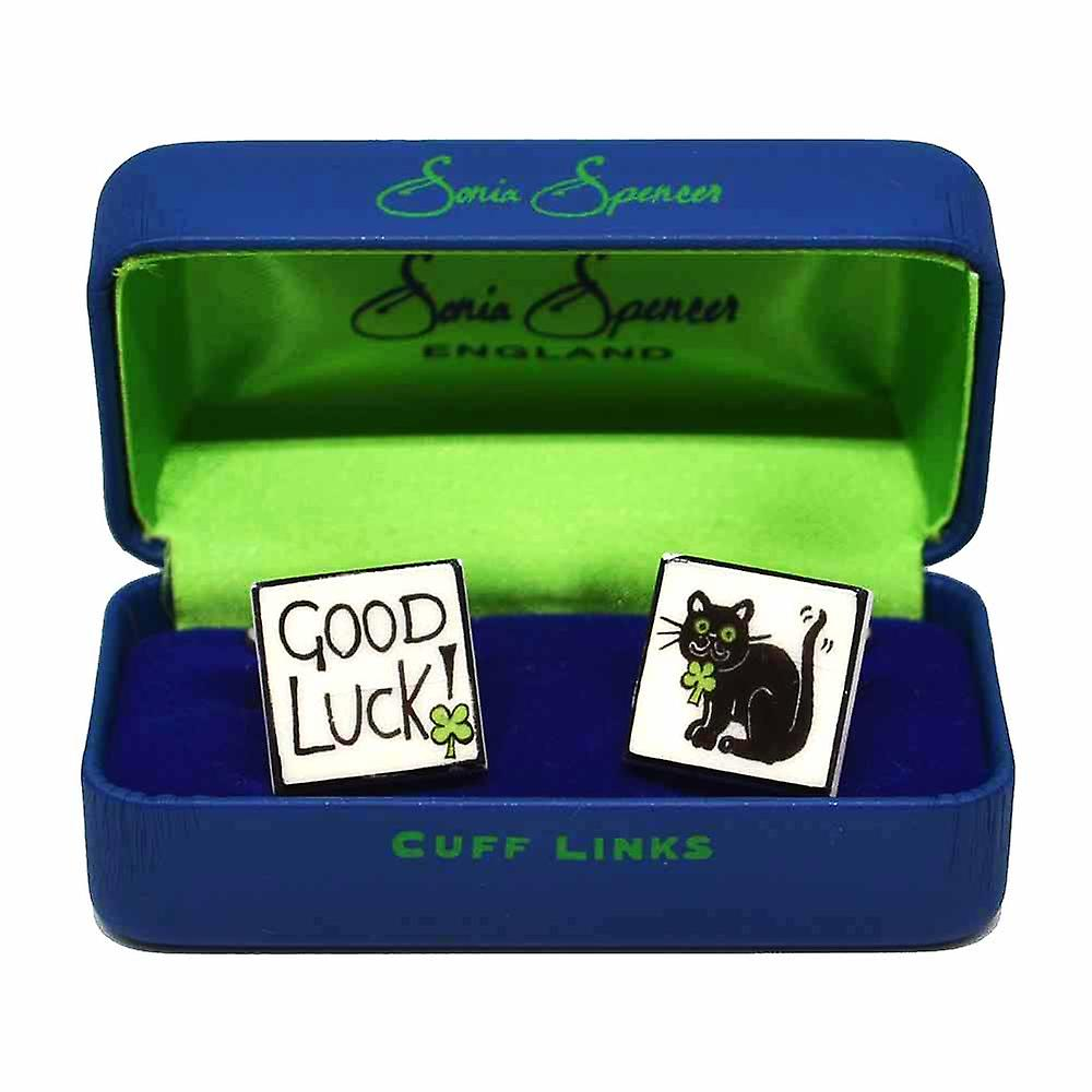 Good Luck Cufflinks by Sonia Spencer, in Presentation Gift Box. Hand painted