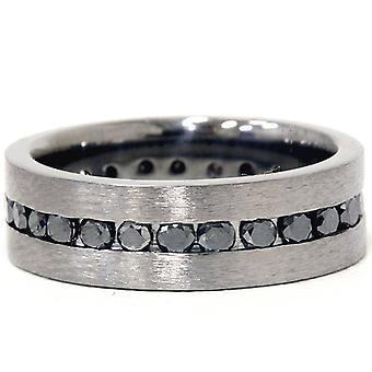 1 1 / 10ct diamante negro cepillado boda Eternity para hombre negro banda 14K oro
