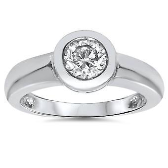 أنا/خاتم سوليتير 1 قيراط SI1 جولة الحافة الأمامية الماس المشاركة ك 14 الذهب الأبيض حجم 6