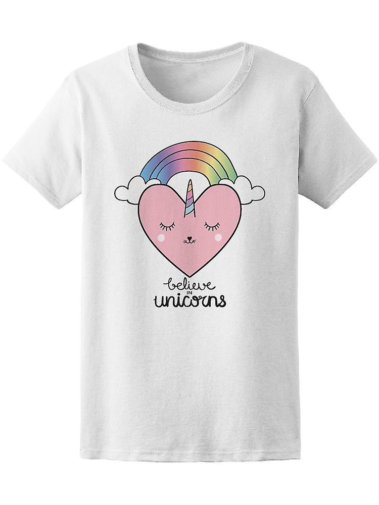 Believe In Unicorns Heart Shape Tee Women's -Image by Shutterstock