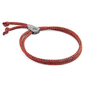 Anchor & Crew Red Noir Pembroke Silver and Rope Bracelet