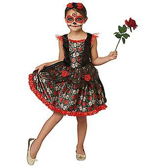 Vestito rosso abito cranio per bambini Rose Day dei morti