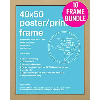 GB Posters 10 Oak Mini MDF Poster Frames 40 x 50cm Bundle
