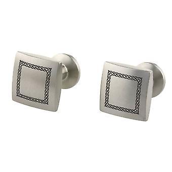 Ti2 Titanium Celtic Engraved Cufflinks - Silver