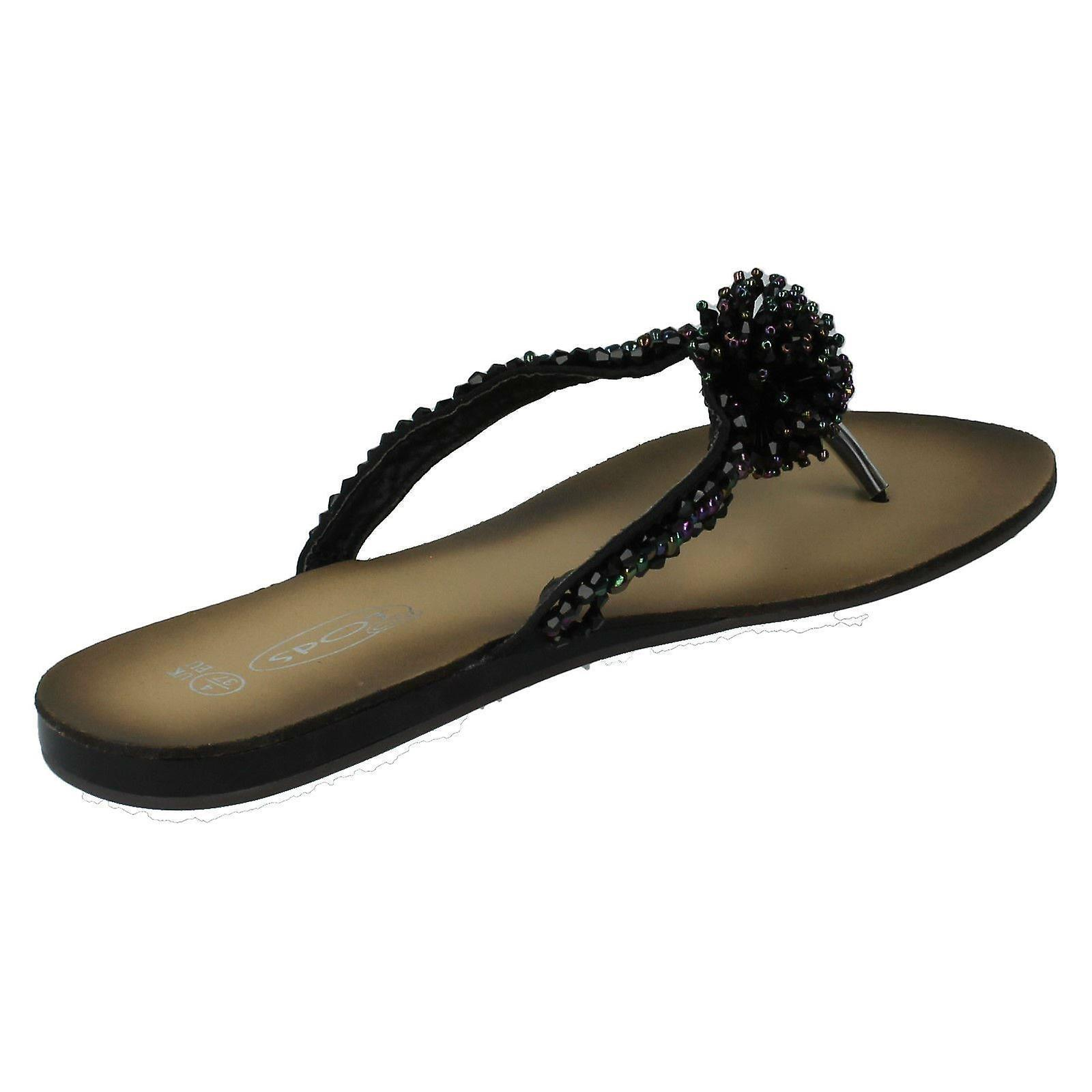 Ladies Spot On Beaded Toe Post Sandals ouWNs0