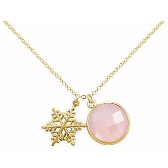 GEMSHINE colar SCHNEEFLOCKE em 925 prata, banhado a ouro ou rosa quartzo