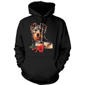 Womens Hoodie - Yorkshire-Terrier Hund mit Rose