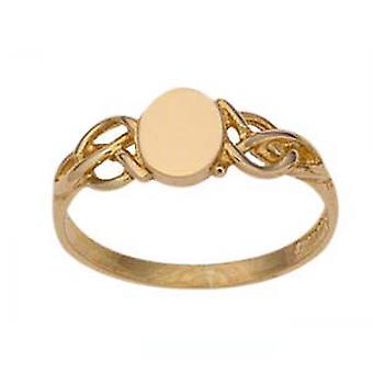 9ct זהב 7mm רגיל סגלגל בסגנון הגברות שמלת טבעת גודל Q