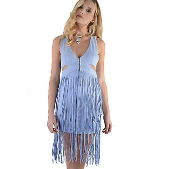 Lovemystyle Pastel Blue Suede Dress With Tassels