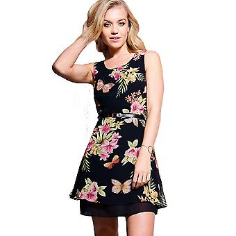 Style London Floral Dress With Tiered Skirt And Belt Detail
