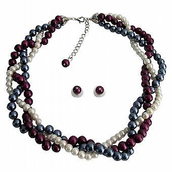Collar trenzado declaración gris púrpura Marfil perlas conjunto de Dama de honor de la boda