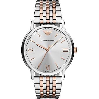 Emporio Armani hombre caballeros vestido plata pulsera reloj AR11093
