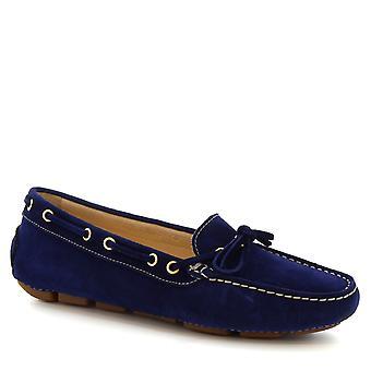 ليوناردو أحذية النساء & s قارب مصنوعة يدويا mocassins في جلد الغزال الأزرق وجلد العجل
