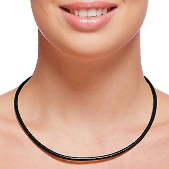 Collier en cuir collier 4 mm mens noir 17-100 cm long avec ton argent fermoir homard
