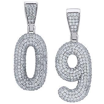 Premium Bling 925 plata esterlina 48mm colgante número 0-9