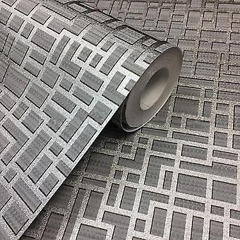 3D effect geometrisch behang metallic zilver textuur plakken muur vinyl Arthouse