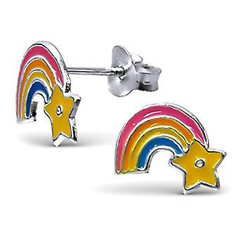 Rainbow e Star Sterling Silver Stud brincos
