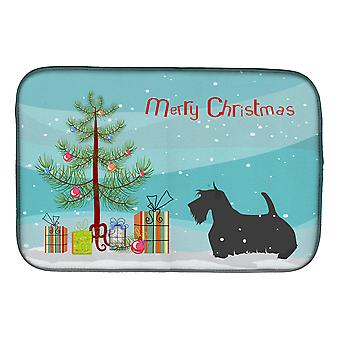 Scottish Terrier Merry Christmas Tree Dish Drying Mat