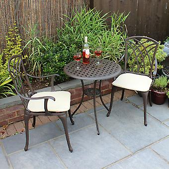 Charles Bentley Möbel 3 Piece Cast Aluminium Bistro Set Table & 2 Arm Chairs