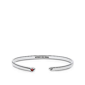 Detroit Redwings Engraved Sterling Silver Ruby Cuff Bracelet
