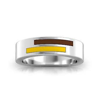 Valparaiso University Sterling Silver Asymmetric Enamel Ring In Brown and Yellow