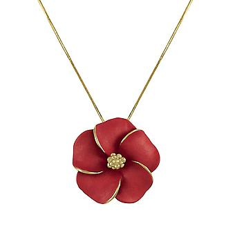 Eternal Collection Pansy Red Enamel Flower Gold Tone Pendant Necklace