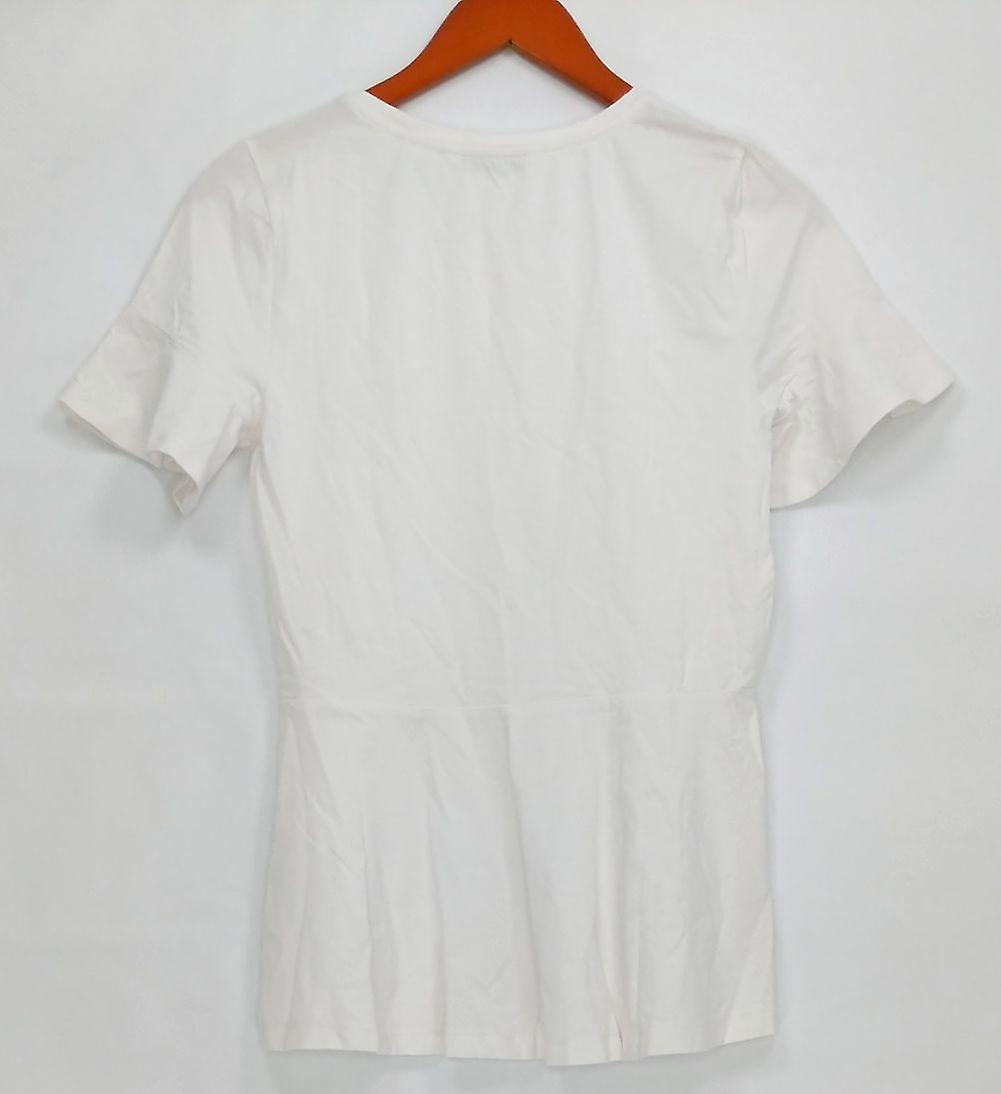 Isaac Mizrahi Live! Women's Top Knit Peplum Short Sleeve White A303170